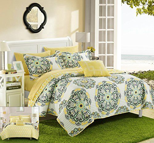 Chic Home 4 Piece Madrid Printed Medallion Reversible Geometric Backing Quilt Set, Full/Queen, Yellow >>> CONTINUE @ http://www.ilikeboutique.com/boutique/chic-home-4-piece-madrid-printed-medallion-reversible-geometric-backing-quilt-set-fullqueen-yellow/?c=9696