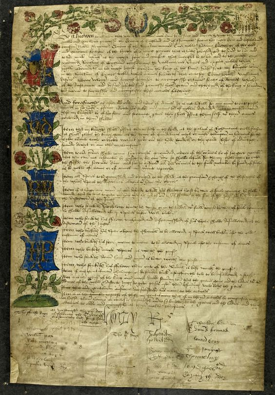 Jousting rules for a tournament 1511- To celebrate the birth of his son Prince Henry in 1511, the King proclaimed an allegorical tournament of the sort developed in the previous century at the court of the Dukes of Burgundy.     This challenge, issued and signed by the King lists the rules to be followed and explains the background story.