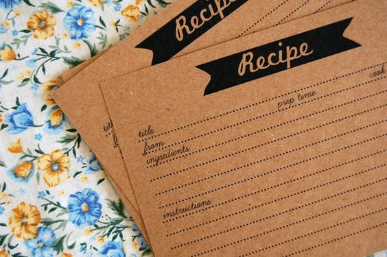 kraft recipe cards (by the ruffly owl) #handmade #bridal-shower