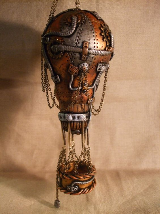 steampunk hot air balloon made from a lightbulb and