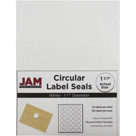 JAM Paper 1-2 3 inch Circle Label Sticker Seals, White, 120-Pack - labels word template