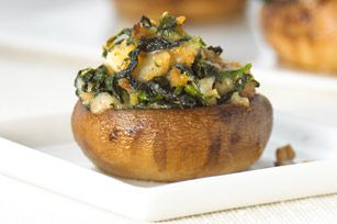 Spinach-Stuffed Mushrooms recipe  Change the recipe by using Ideal Protein Cheddar Cheese ridges instead of stove top.  Or gluten free - use gluten free box dressing