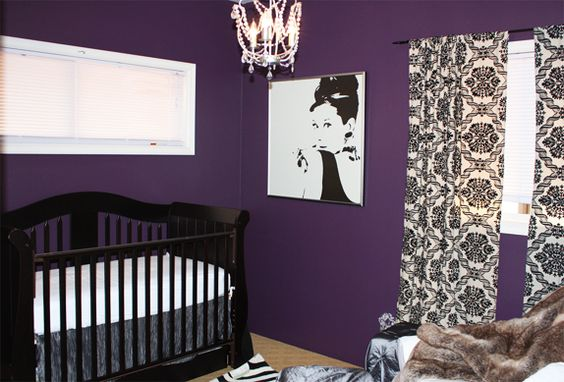 If you're wanting a bold color in your nursery, this purple shade is a great choice! Love the Audrey Hepburn print, too. #nursery