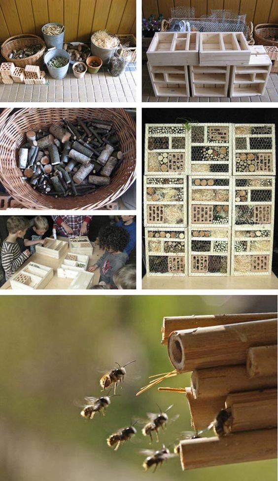 Kinderbeschäftigung! Made a stackable insect hotel at childrens birthday.  Read more: http://dieraumfee.blogspot.com/2011/11/schoner-wohnen-fur-biene-maja.html