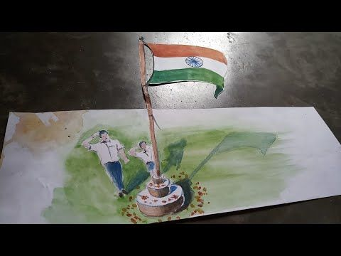How To Draw A 3d National Flag Of India Flag Drawing Drawings Indian Paintings
