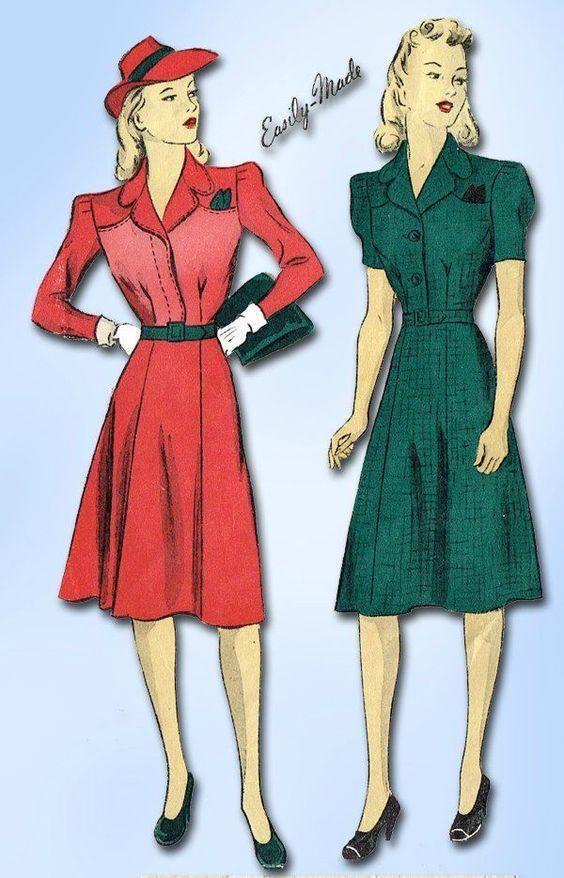 1940s Vintage WWII Day Dress 1941 Du Barry Sewing Pattern Sz 36 B