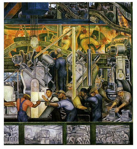 Detroit industry detail from one of the diego rivera for Diego rivera mural detroit institute of arts