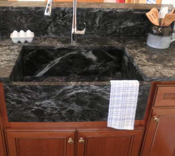 Saratoga Soapstone sink in Hudson Ash. Available exclusively through Artisan Group. #kitchen #remodel #stone #countertops