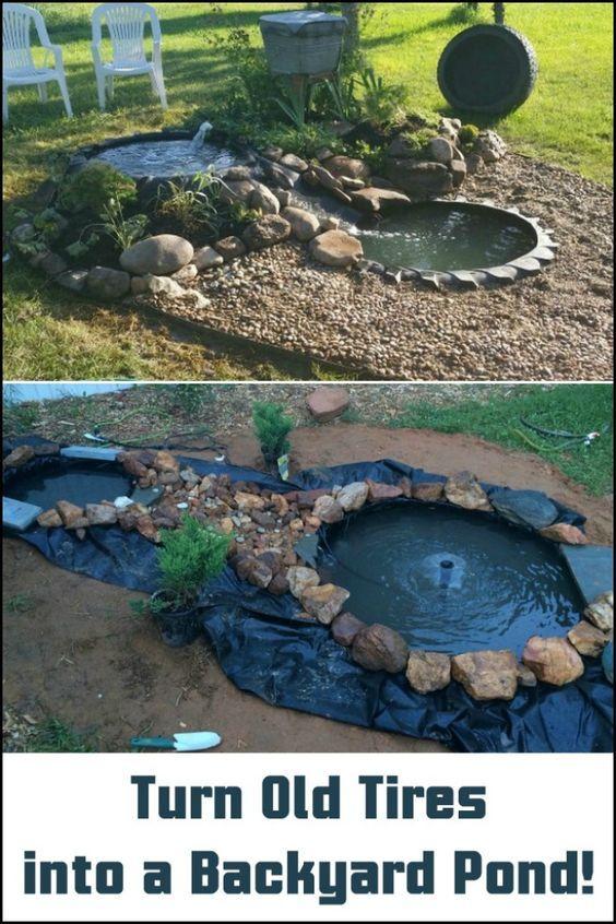Von Einen Alten Traktorreifen Zu Einem Schonen Teich Im Hinterhof So Es Gemacht 1001 Bastelideen Diy Ponds Backyard Outdoor Decor Backyard Tire Garden
