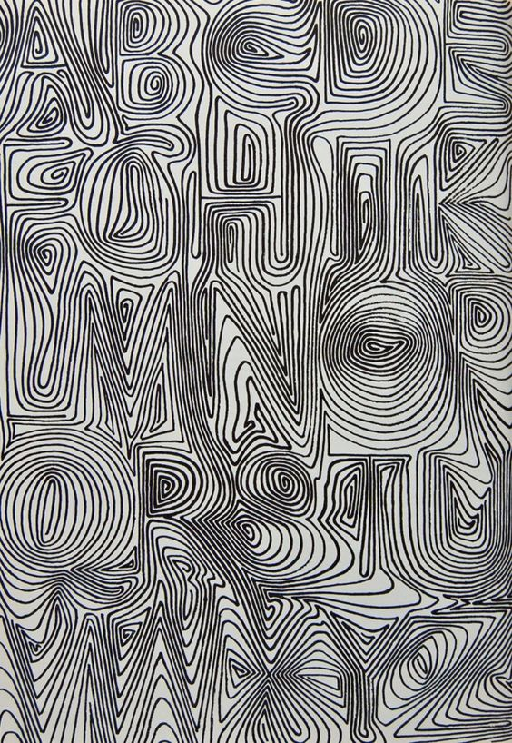 """pinterest.com/fra411 #typographic - David Kindersley, U.K., from 1969 from """"Variations on the theme of twenty-six letters"""""""