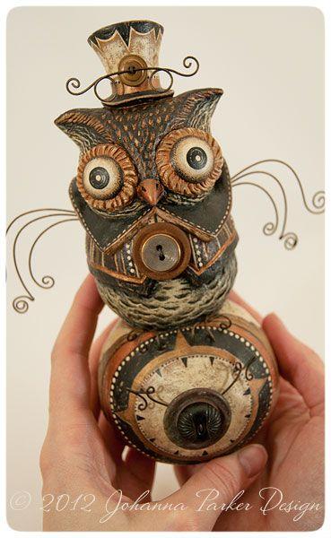 """First ever, Steampunk, or is it... """"Screampunk"""" folk art piece by Johanna Parker Design ~ up for silent bids via her BLOG: http://www.johannaparkerdesign.blogspot.com/:"""