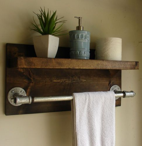 "Industrial Rustic Modern Bathroom Shelf with 18"" Towel Bar"
