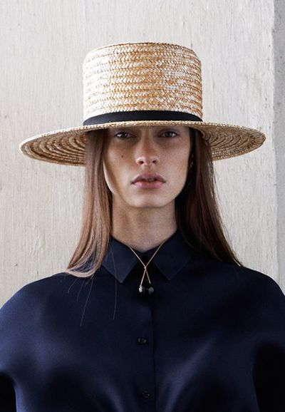 Celine Pre Fall 13. Appears to be the line of Amish couture. #millinery #judithm #straw::