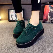 2016 pisos de plataforma moda mujeres atan para arriba zapatos de cuero Artificial mujeres del otoño del resorte Creepers Oxfords zapatos negros más el tamaño(China (Mainland)):