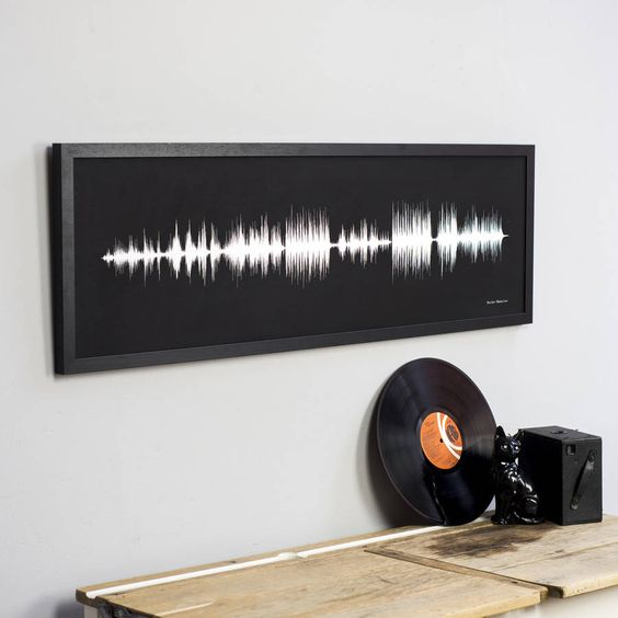Personalised sound wave print, using your favourite song. Unique birthday present for music lovers or as wedding or anniversary gift with a first dance song.CHOOSING YOUR SONG: Every song looks completely different and that's what makes this piece interesting. We have found that acoustic or classical music looks great, with lots of peaks and troughs in the sound wave. Loud and busy songs can have extended blocks in them so choose carefully. You will be sent a preview of your piece before it…