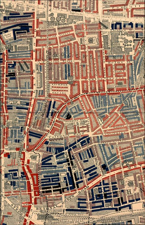 Poverty map of Old Nichol slum, East End of London, showing Bethnal Green Road, from Charles Booth's Labour and Life of the People. Volume 1: East London (London: Macmillan, 1889).