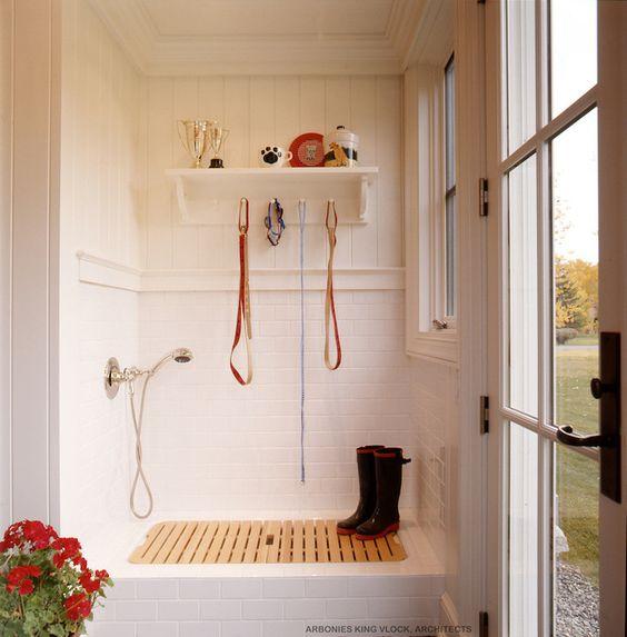 Arbonies King Vlock - laundry/mud rooms - dog shower, mudroom shower, doggy shower, mud room shower, subway tiled shower, paneled shower, shower paneling,: