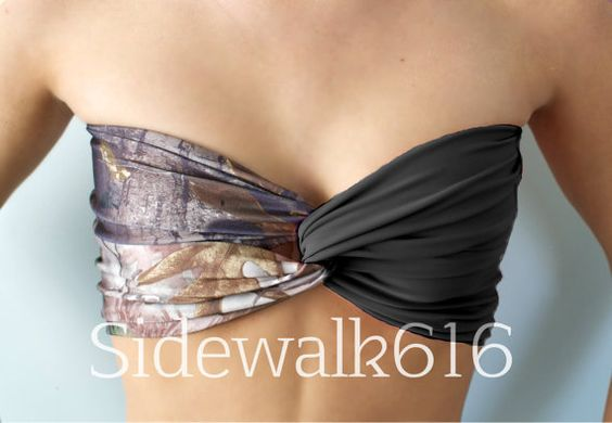 Real Tree Camo and Black Bandeau Top Spandex Bandeau Bikini Swimsuit on Etsy, $27.00