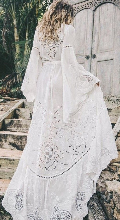 Boho white dress with hand embroidery Fiona dress