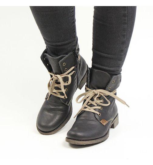 Rieker women lace up boot black 70829 02 | Rieker boots