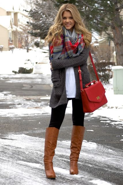 Casual with Pops of Red for the Holidays - Gray MB LS Open Cardigan from Target, Gap white Drapey Tee, black leggings, gray and red scarf, brown boots: