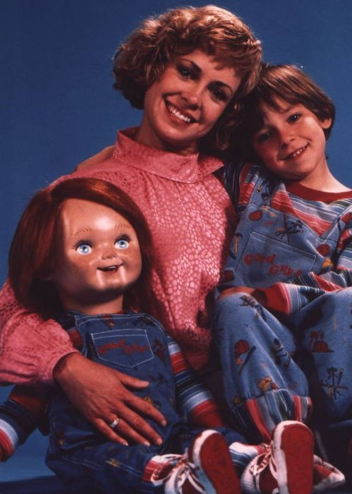 (1988) Chucky, Catherine Hicks, Alex Vincent publicly still: CHILD'S PLAY
