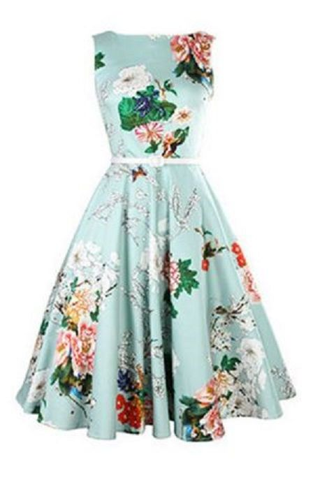 Vintage Jewel Neck Floral Print Sleeveless Belted A-Line Dress For ...