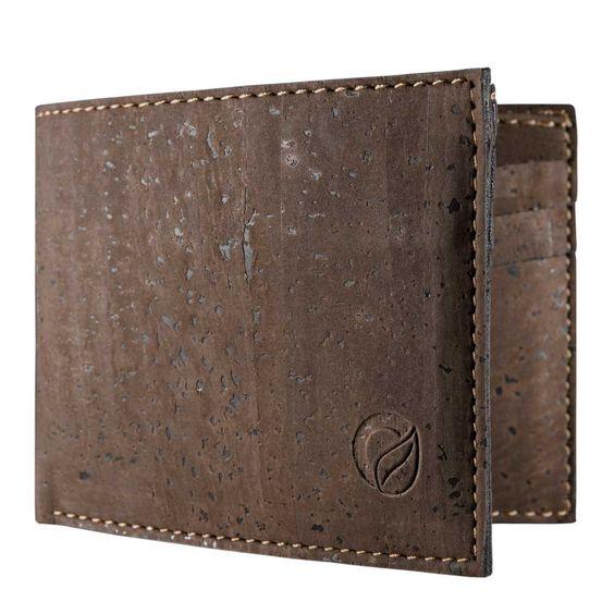 Slim Front Pocket Wallet for Vegan Men Dark Brown Cork
