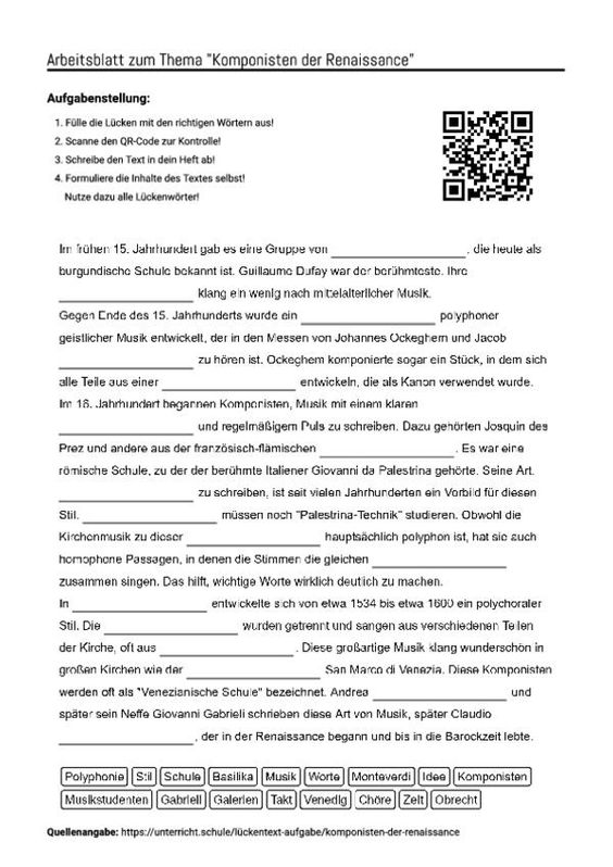 Beste Renaissance Arbeitsblatt Ideen - Arbeitsblätter für ...