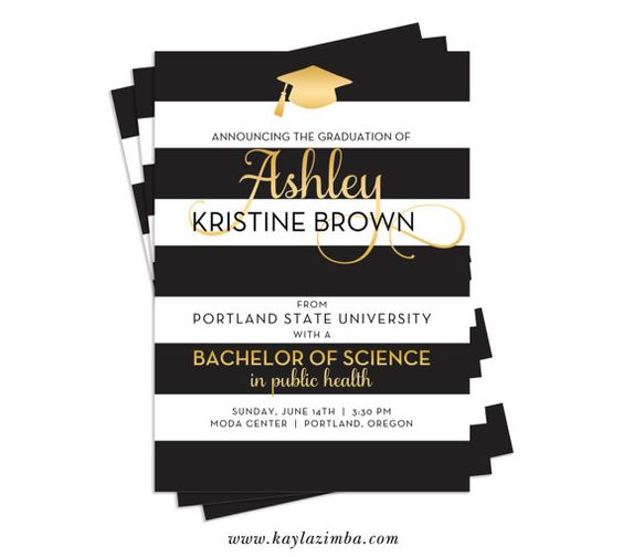 Black Gold Graduation Invitation Striped Graduation Open House – Black and Gold Graduation Invitations