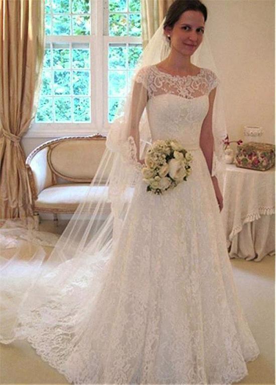 Cap Sleeves A Line Lace Wedding Dresses Bridal Gown Vestidos De