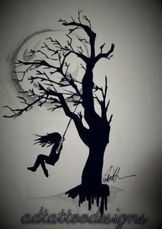Black and grey girl on a swing with full moon and tree silhouette - Google Search: