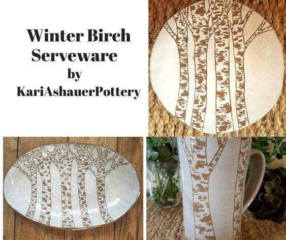 Winter Birch Serveware by KariAshauerPottery