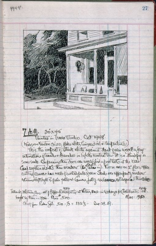 Edward Hopper, page 27 from Artist's ledger—Book III, 1924–67. Ink, graphite, and colored pencil on paper, 12 3/16 × 7 5/8 in. (31 × 19.4 cm). Whitney Museum of American Art, New York; gift of Lloyd Goodrich 96.210a-hhhh