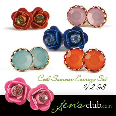 "Cool Summer Earring Set From Regal       Six post-style stud earrings in three gorgeous summer colours. Highly detailed metal flower studs are delicately painted, and match perfectly with their faux rhinestone partner. (Approx. 3/8""Diam.)  Product Number - JC1013"