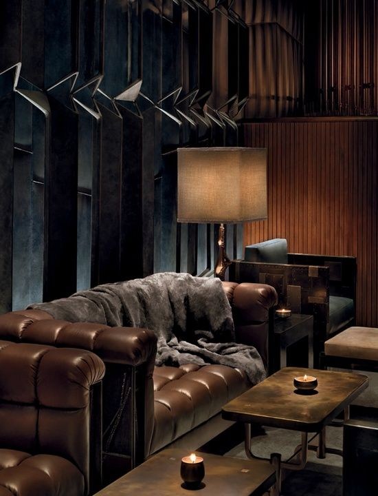 ♂ Masculine interior design Dark brown Lounge Area At The Royalton Hotel In New York City: