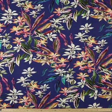 Printed Tropical Rayon Knit Multicoloured 148 Cm Fabric Sewing Fabrics Prints