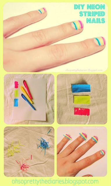 Neon striped nails