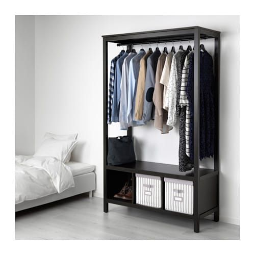Ikea Hemnes Open Wardrobe Black Brown Penderie Ouverte
