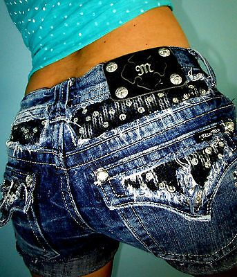 Buckle MISS ME Embellished Flap Pkt Thick Stitch Low Rise CutOff Denim Shorts 27