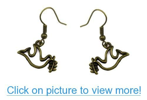 Dove of Peace Dangle Earrings in Antique Bronze #Dove #Peace #Dangle #Earrings #Antique #Bronze