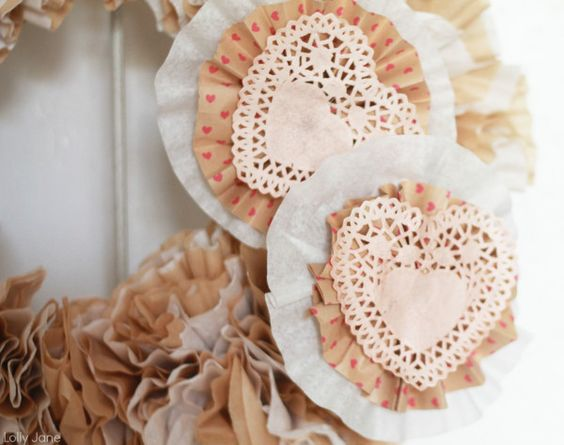 Valentine Coffee Filter Wreath #craft #wreath