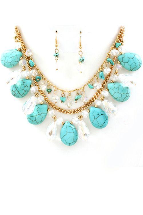 Turquoise Crystal Manuela Necklace & Earring Set #necklace #earrings #ladies #women #turquoise: