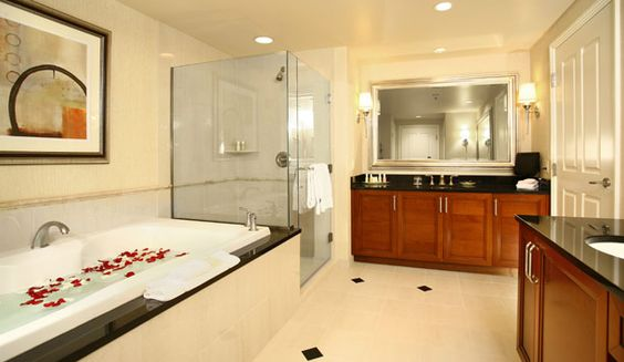 The Signature at MGM Grand  Suite bathrooms are large and feel more like  those of a private residence than a hotel    Living in Paradise   Pinterest    Vegas. The Signature at MGM Grand  Suite bathrooms are large and feel