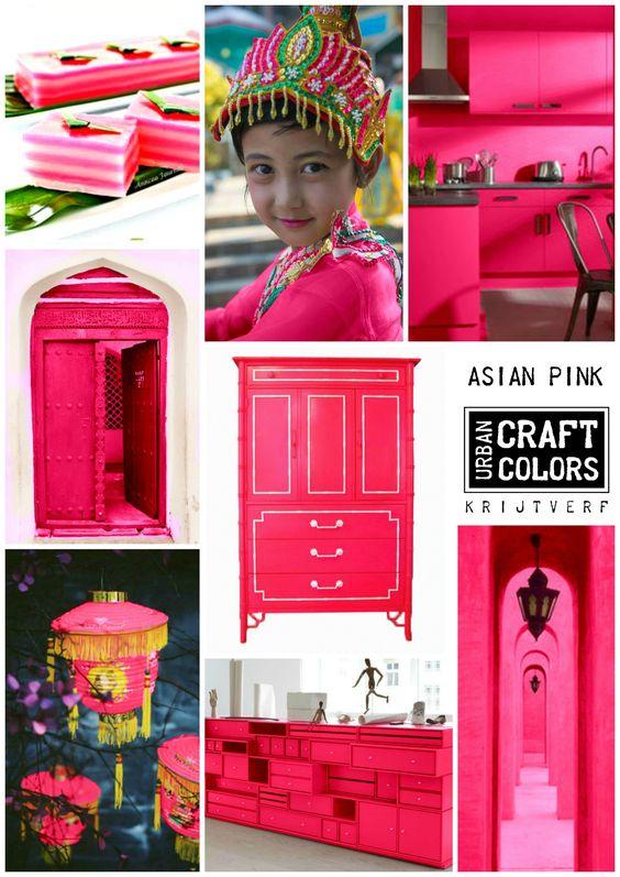 Urban Craft Colors Krijtverf  ASIAN PINK... Een felle roze kleur, geïnspireerd op de roze kleuren van Chinese lampionnen, Indiase sari's en Aziatische lekkernijen. www.facebook.com/urbancraftcolors
