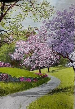 Guiding Path Watercolor Landscape Spring Landscape Oil Painting Landscape