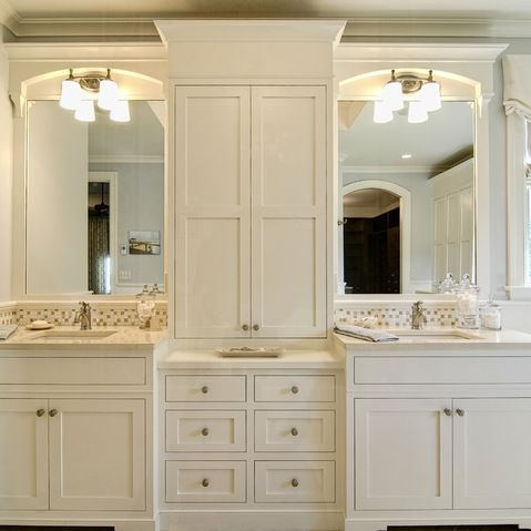 Add cabinet in between sinks in mb home pinterest for Eclectic bathroom ideas