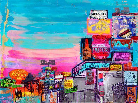 Sandra Rauch, Hollywood, 2010 / 2012 © www.lumas.de/ #LumasAmerika,  bunt,  Collage,  Collagen,  Fotografie,  Gebäude,  Gemälde,  Graffiti,  Großstadt,  Großstädte,  Hollywood,  LA,  Leuchtreklame,  Leuchtreklamen,  Los Angeles,  Malerei,  Metropole,  Metropolen,  mixed media,  Palme,  Palmen,  Reklame,  Stadt,  Städte,  USA,  Werbung