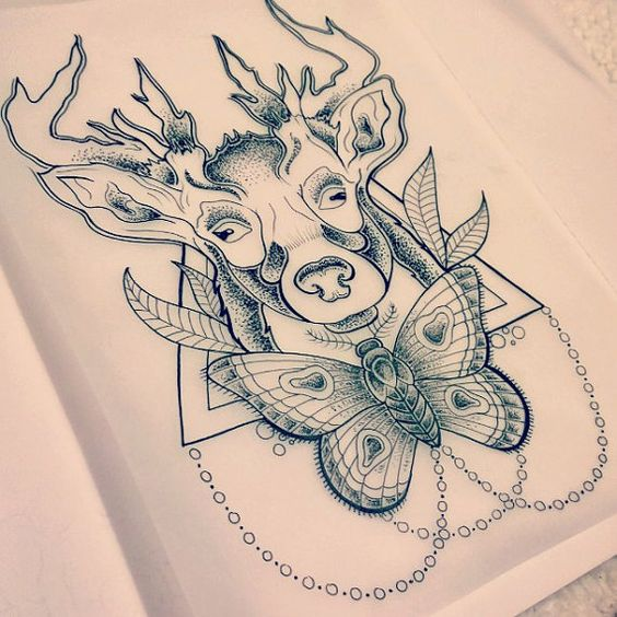 abstract deer and moth tattoo design by modeenlatex on Etsy