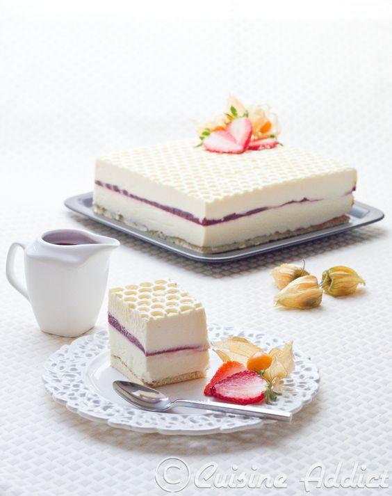 Crémeux Yaourt/Chocolat blanc, Sabayon Mascarpone & Framboise gélifiée (+ english recipe: White Chocolate, Raspberry & Mascarpone Mousse cake )
